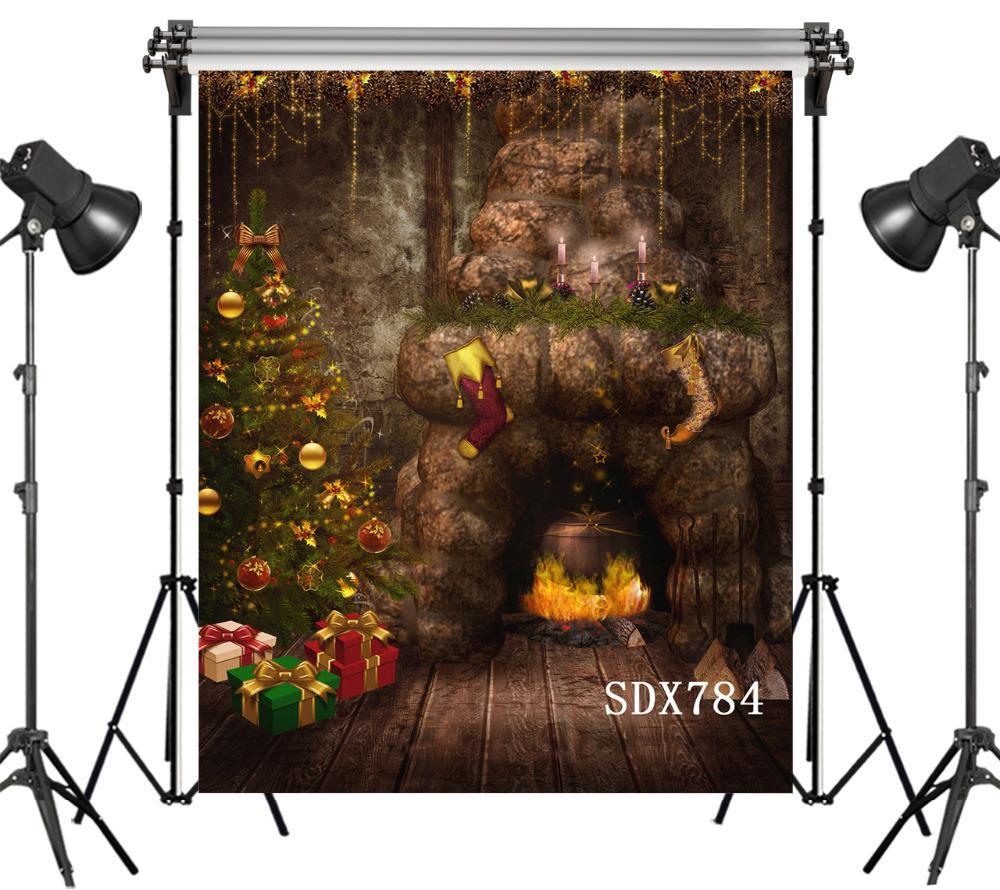 venta al por mayor fondos de vinilo de poliéster para Photo Studio Kids telones de fondo de fotos Cuento de hadas árbol de navidad chimenea de cueva de duende