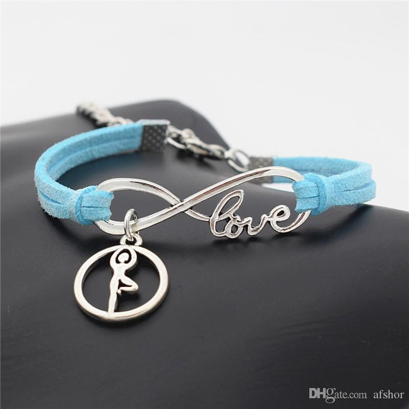 Elegant Blue Leather Suede Wrap Cuff Bracelet Bohemian Creative Infinity Love Ballet Gymnastics Yoga Charm Bangles Fashion Women Men Jewelry