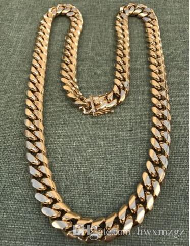 Cadena de enlace Miami cubano de 14 mm para hombres Acero inoxidable chapado en oro de 18 quilates 270 Gramos HEAVY