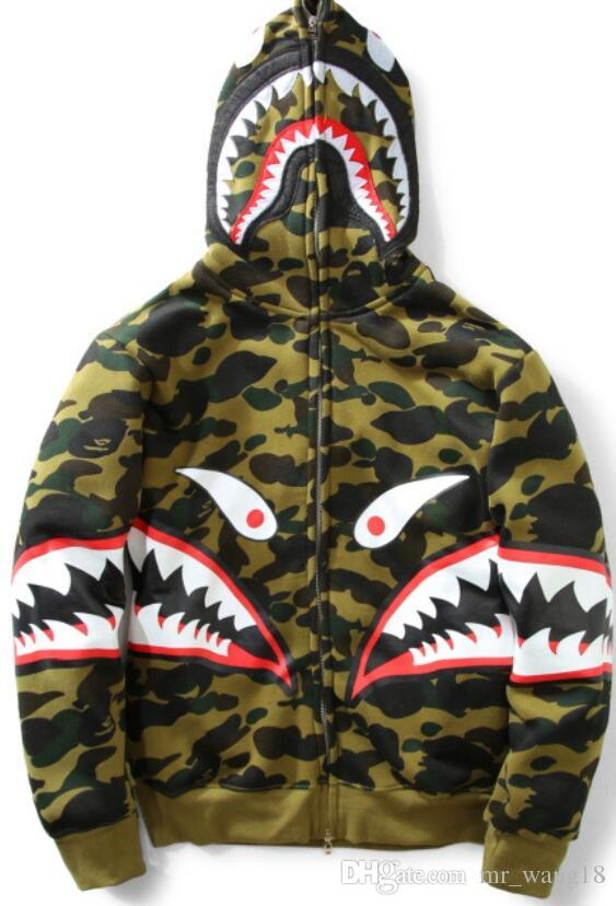 Autumn and winter new camouflage teeth plus velvet sweater men and women hip hop hooded jacket fashion cardigan zipper sweater