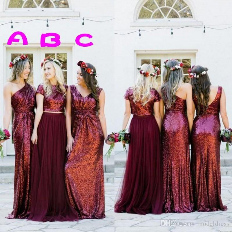 New Dark Red Sequined Bridesmaids Dresses 2019 Mixed Style Pleats A Line Floor Length Country Beach Maid Of Honor Party Prom Gowns Cheap