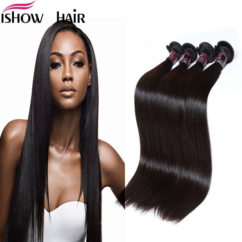 Peruano indio Maylasian Unprocessed Virgin Hair Pelo liso y sedoso 4 paquetes Ishow Top 8A Armadura del pelo 8-28 pulgadas Venta caliente Envío gratis
