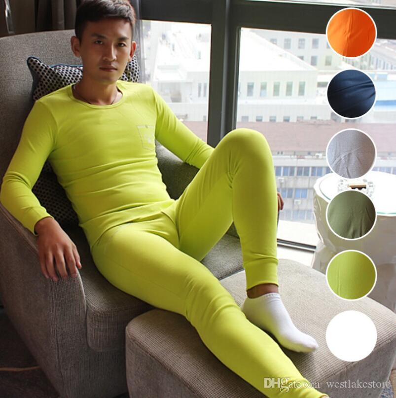 Мужская деятельность термобелье Костюм зима теплая длинные Джонс мужчины нижнее белье пижамы хлопок нижнее белье топы и брюки горячие