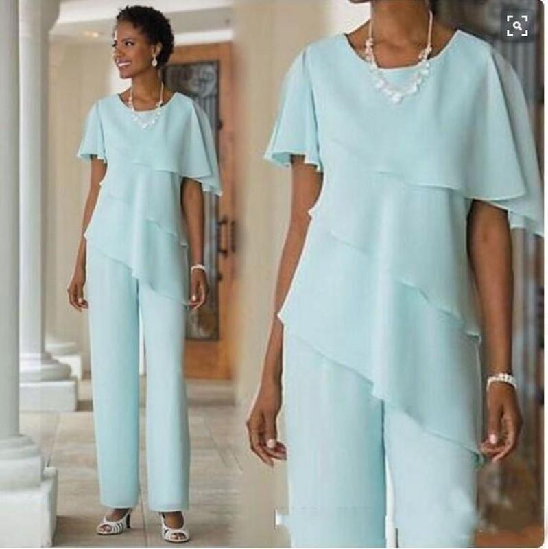 2019 Nouvelle mère de la mariée Robes Pantalons Costumes Robe de mariée en mousseline de soie clients à manches courtes hiérarchisé Mère de Costumes Pantalons Mariée Custom Made