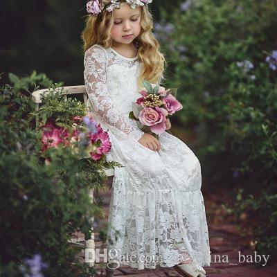 Niños niñas princesa Floral Lace Bow Dress Toddler 2018 nuevo bebé Grils moda volantes Color blanco fiesta de bodas vestido de fiesta Z11