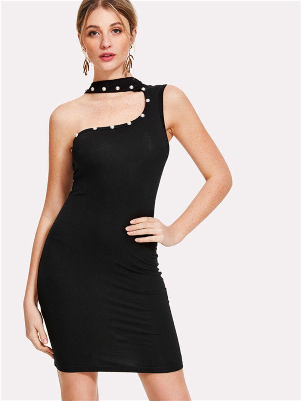 Robe d'été Femmes Sexy robe noire solide Lady Beach Wear Maxi robe une épaule femmes perles Décoration moulantes Robes