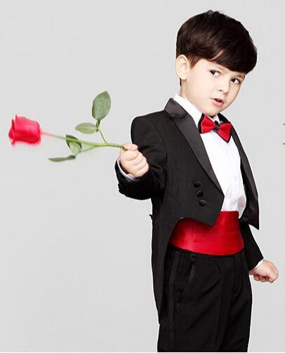 Black Boy Tuxedo Tailored Children Clothing Set Formal Tuxedos Custom Made Boy's Wedding Party Prom Suit(Jacket+Pants+Bowtie)