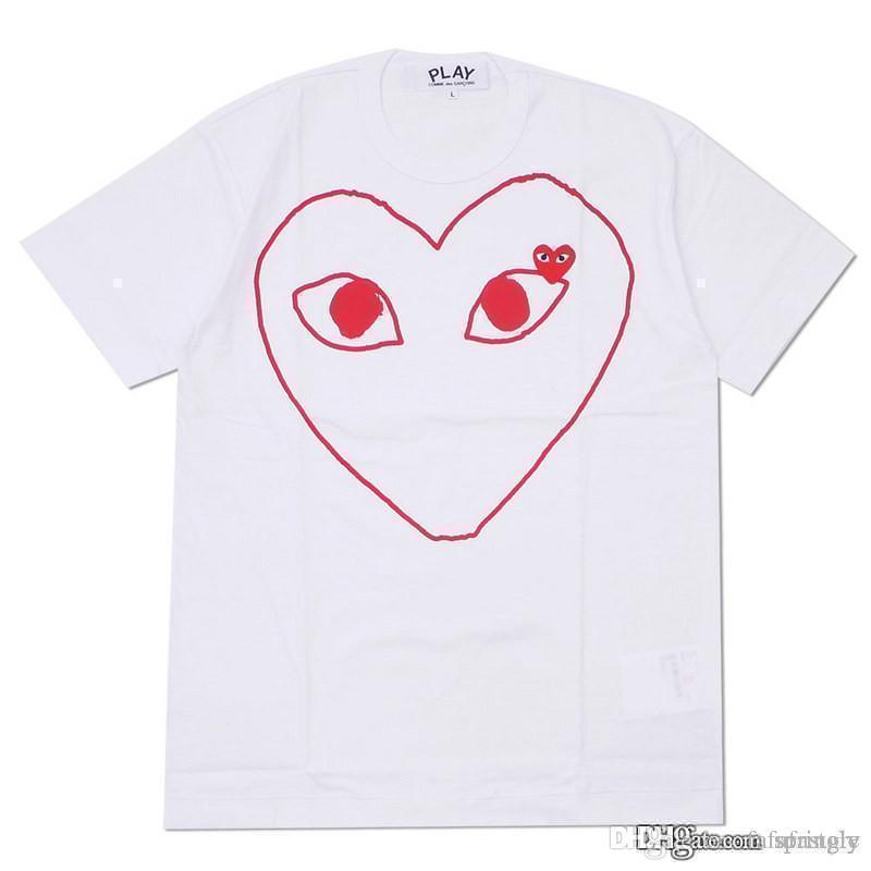 COM En Kaliteli CDG Yeni Sıcak Kırmızı Gözler TATİL OYUN 1 T-shirt Siyah Kırmızı Çizgili Polka Siyah istemi karar F / S