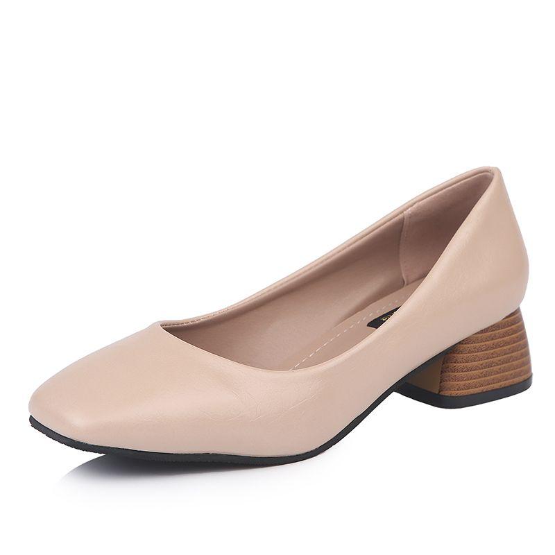 New Popular Women's Plain Pumps 4cm Med Heels Vintage Shoes Woman Summer Soft 4 Colours Casual Footwear for Female Dress