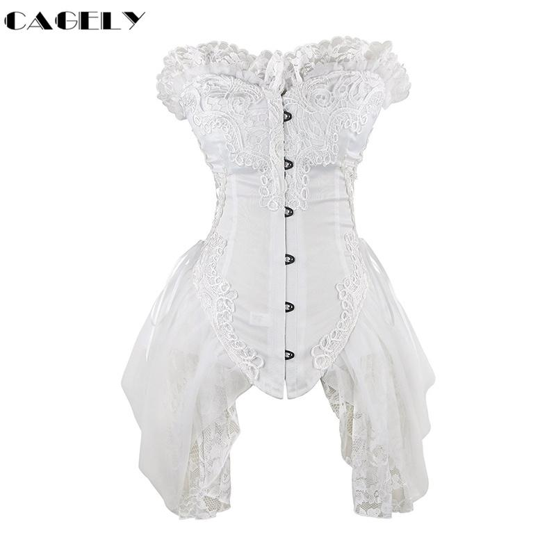 2019 Victorian Lace Corset Dress Sexy Lingerie Gothic Clothing Corselet Overbust Bustier Pole Dancewear Fancy Party Basque Costume From My11 2502