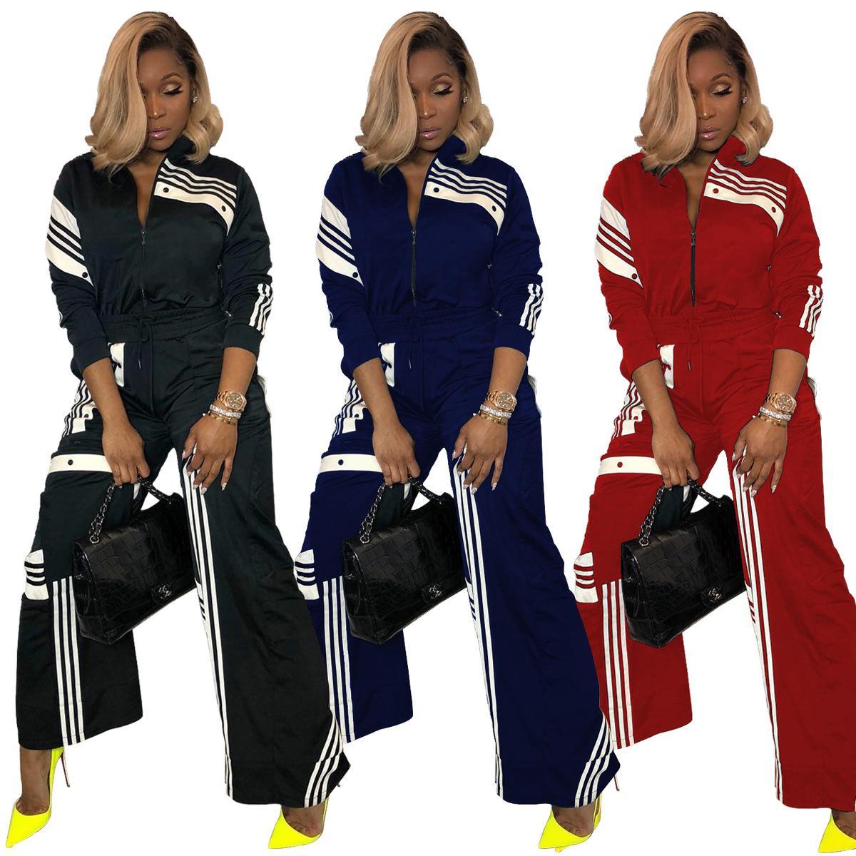 Striped Spliced Causal Trajes de 2 piezas Mujeres Frente Cremallera Abrigos de manga larga y pantalones anchos Traje Otoño Traje de calle Nueva llegada