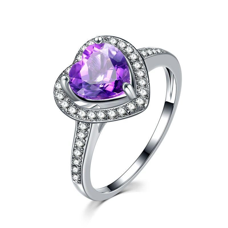 R229. Luxus Modeschmuck Herz lila Silber CZ Diamant Ringe Frauen Ehering Echt Silber Pandora Stil Ring