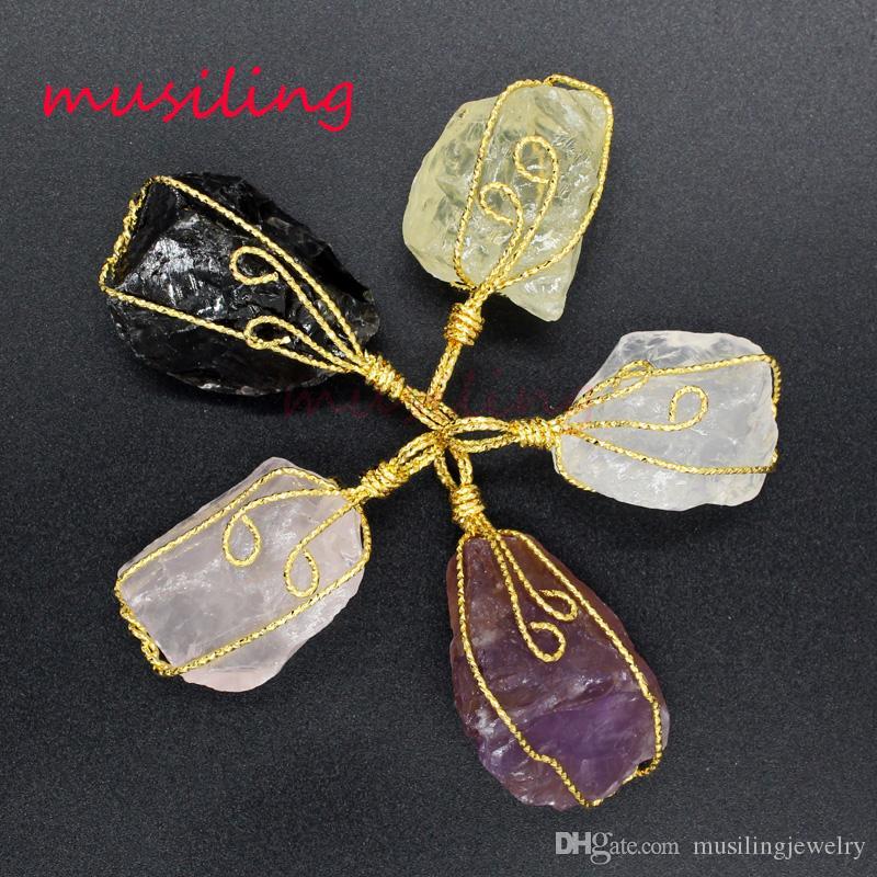 Pendenti Collana catena originale naturale pietra cristallo quarzo pendolo amuleto placcato oro gioielli di moda per le donne