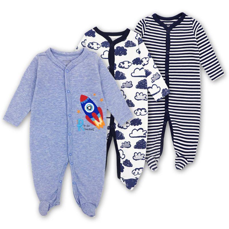 3 PCS Marca Baby Girls Boys Pagliaccetto maniche lunghe 100% cotone pigiama del bambino del fumetto stampato tuta del bambino costo di fabbrica a buon mercato all'ingrosso