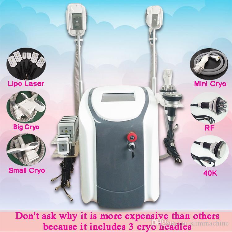 La grasa de alta intensidad de congelación manija de la máquina de la cintura que adelgaza la Lipo Laser + 40K + RF + + Gran Cryo Pequeño Cryo manija + mango mini Cryo (para el tratamiento del cuerpo)