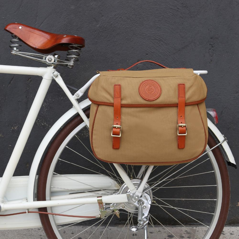 Tourbon Retro Bicycle Pannier Bag Rear Rack Trunk Bike Backseat Luggage  Double Roll-up Bag Vintage Waxed Waterproof Canvas Khaki