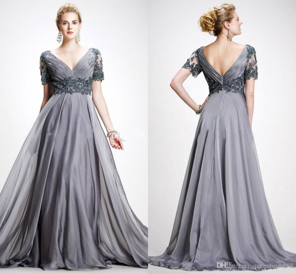 2019 Vintage Mother of the Bride Dresses with Short Sleeves Applique Zipper Back Chiffon A Line Prom Formal Gowns