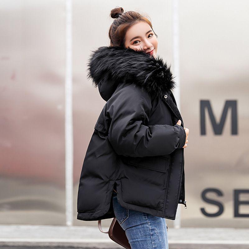 2018 Réel Nouvelle Arrivée Vers Le Bas Veste Hiver Veste Femmes Single Full Slim Cheveux-Rembourré De Coton Vêtements Big Jacket Manteau