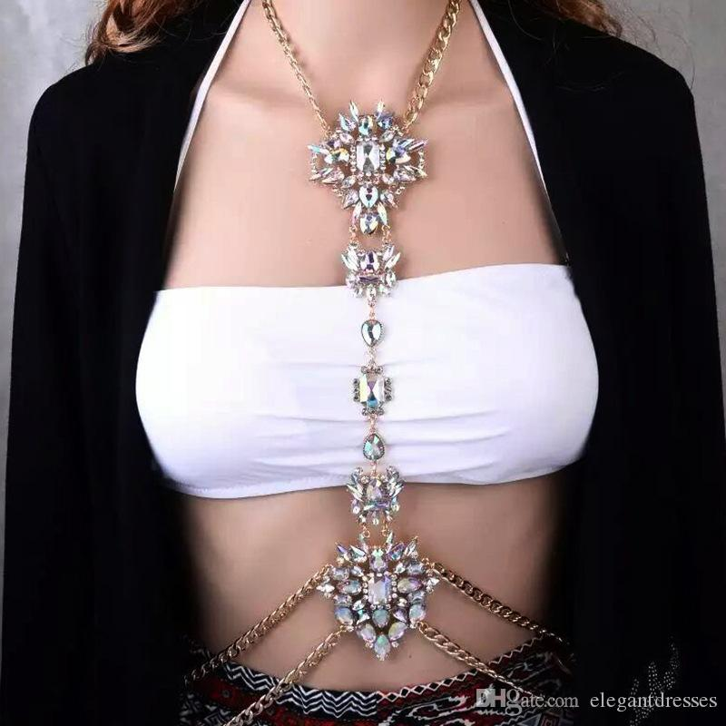 Lussuoso cristallo ornato da sposa catena di gioielli Jewerly europeo moda donna vita accessori catena femminile gioielli