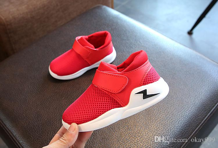 2019 Brand New arrival Spring and autumn Non-slip breathable mesh surface airr kids running shoes baby sneakers black white red