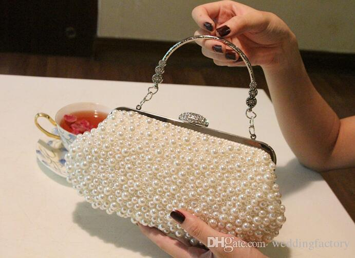 2019 Inexpensive Pearls Evening Bags Small Hand Bag White Beige Black Shoulder Bags Clutch Bag Bridal Hand Bags Party Accessories