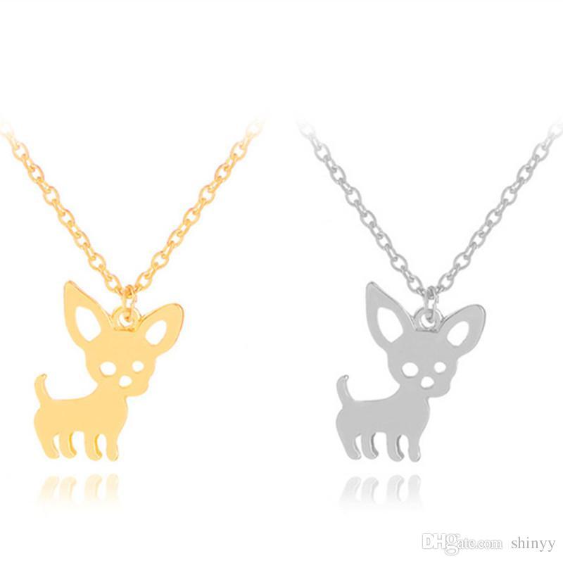 Sıcak Chihuahua Köpek Kolye Kolye Sevimli Pet Köpek Kolye Altın Gümüş Kadınlar Hediye Için Moda Takı