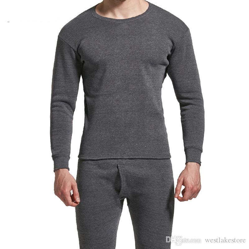 Winter Men Long Johns Addensare Set da intimo termico da uomo Plus Fluff Warm Long John O-Neck Thermal Undershirts Pantaloni