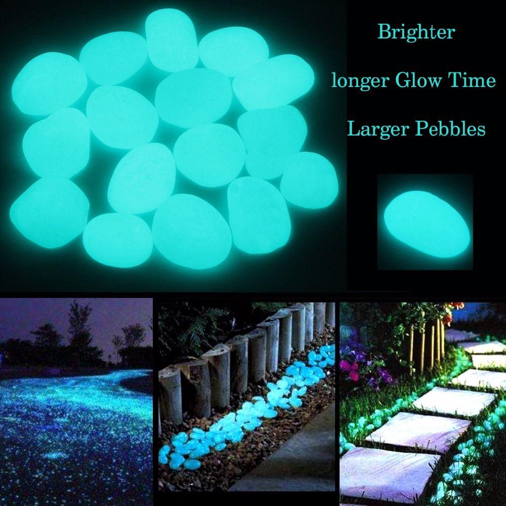 100 Unids / set Glow in the Dark Garden Guijarros Glow Stones Rocas para pasarelas Garden Path Patio Lawn Garden Yard Decor, piedras luminosas