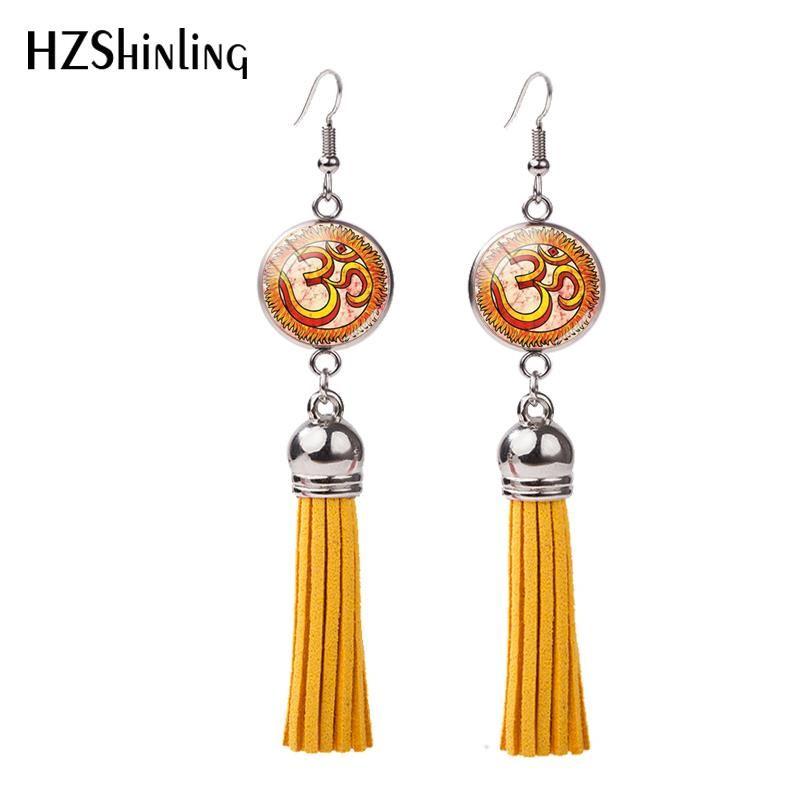 New OM Hand Painting Tassel Earring Namaste Hands Fish Hook Earrings Hand Craft Jewelry Glass Bohemian Style Earbob NHE-0107