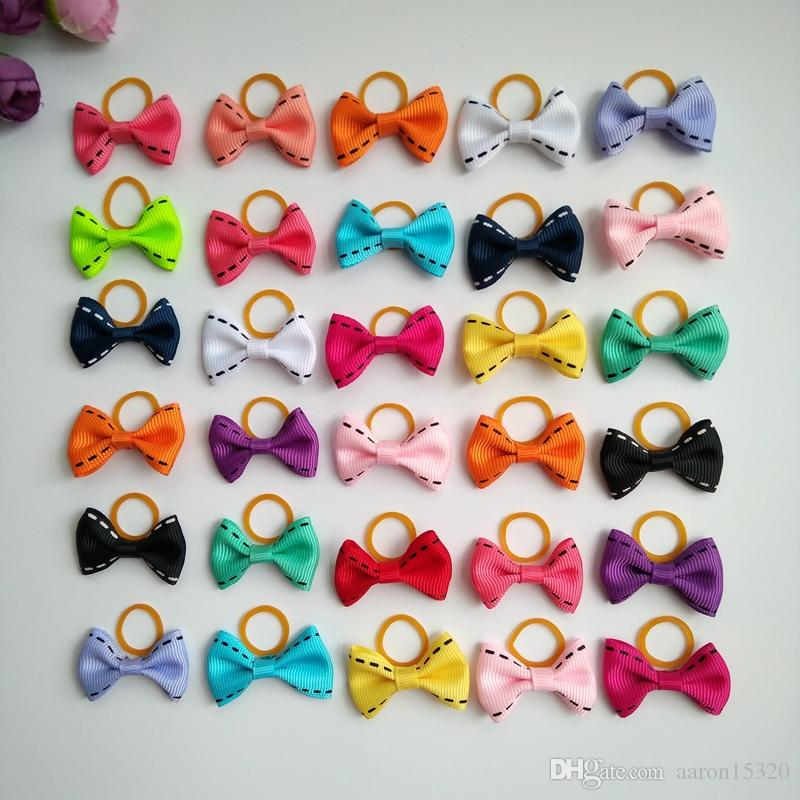 100pcs/lot Cute Puppy Dog Small Bowknot Hair Bows with Rubber Bands Handmade Hair Accessories Bow Pet Grooming Products