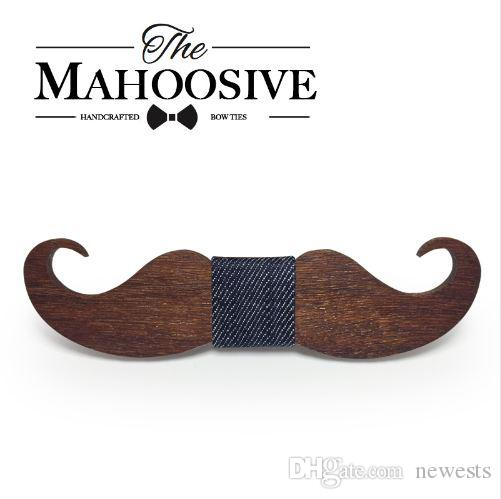 ربطات العنق الجدة Mahoosive اليدوية الشارب خشبية القوس التعادل الرجال ربطة رجل الرقبة العلاقات مصنع بالجملة شحن مجاني