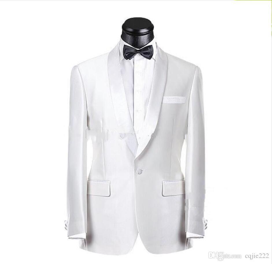 New Real Picture Smoking dello sposo bianco Groomsmen Vestito da uomo migliore Abiti da sposo uomo Suit da sposo (giacca + pantaloni + cravatta) 252
