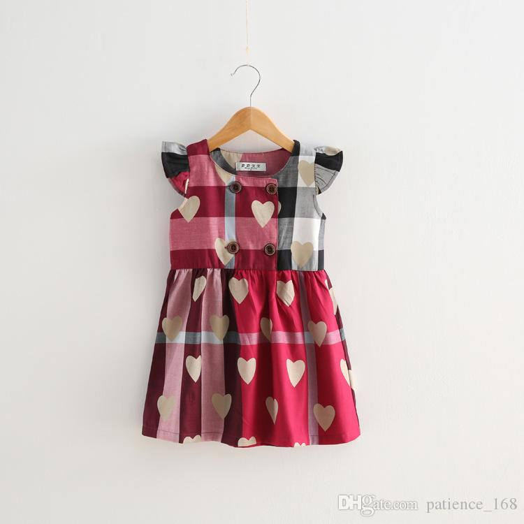 plaid dress 2018 hot selling NEW ARRIVAL girls Kids high quality Cotton red Love printing dress causal summer plaid dress 2 colors free ship