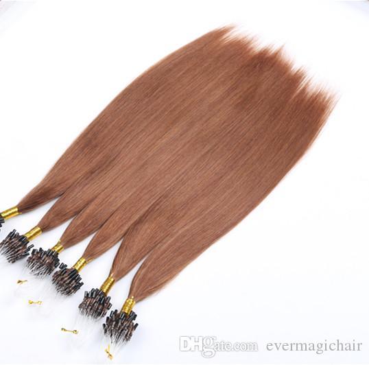 Микро-выдвижения волос петли людские 14-24inches 1g/Strand 100g / Pack шелковистые прямые волосы Pre-скрепили микро-выдвижения человеческих волос цвета кольца 30#
