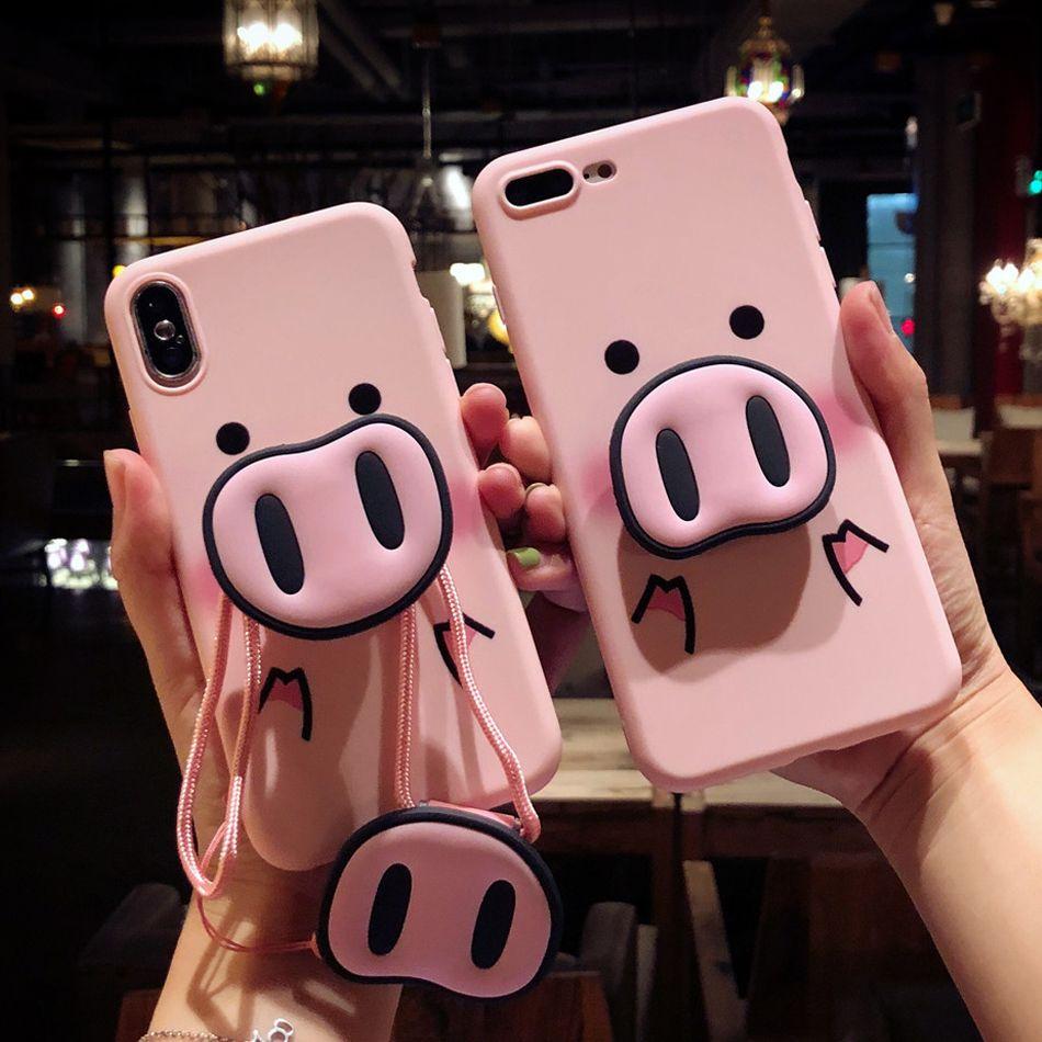 Niedlichen rosa Fall für iPhone X 7 Plus XS Fall Silikon Telefon Ständer Halter Abdeckung für iPhone 6S 8 6 Plus XS Max Fall Schwein Schlüsselband