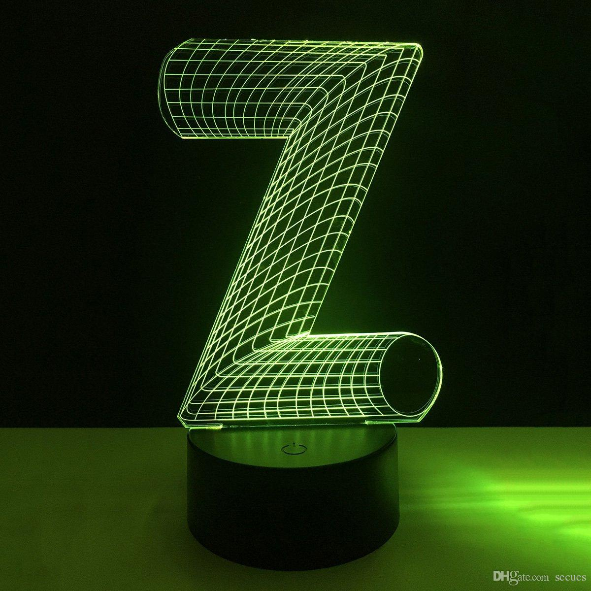 New Z Letter Shape 3D Illusion LED Lamp Letters Decoration Lamp DC 5V USB Powered 5th Battery Wholesale Free Shipping