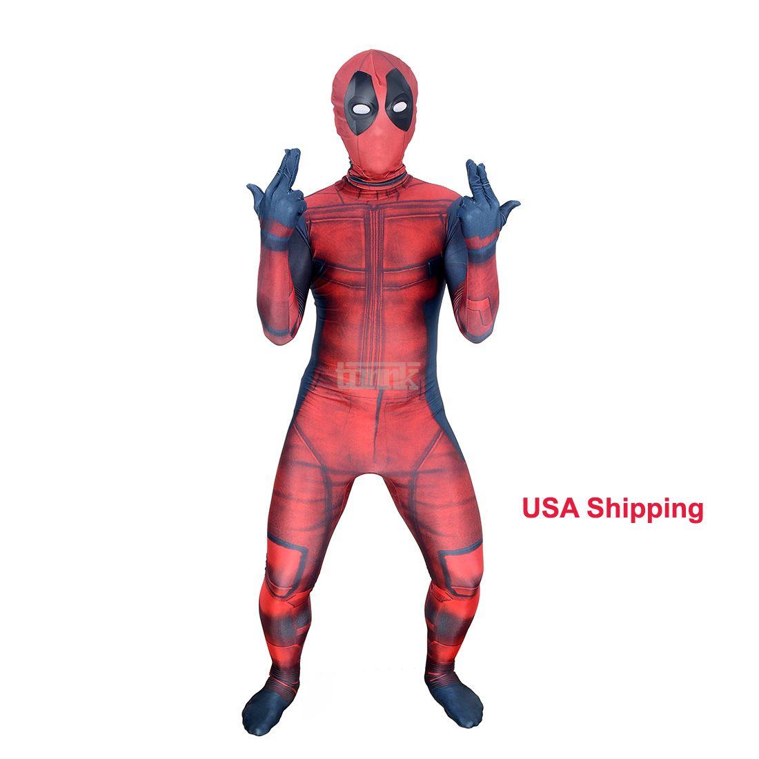 Kids 3D Deadpool 3D X-Men Deadpool Halloween Cosplay Superhero Lycra Spandex Zentai Suits Deadpool Costume (Unisex)
