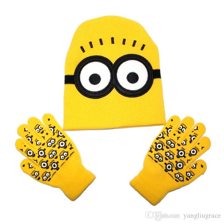 d75c4bdd68e37e Despicable Me Minions Hat Gloves Kids Sets Boys Girls Baby Knitting Hat  Knitted Gloves European design