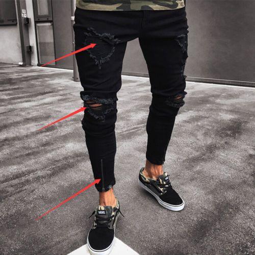 Thefound Moda Masculina Rasgado Skinny Jeans Destruído Jeans Desgastado Slim Fit Denim Pant Jean Zipper