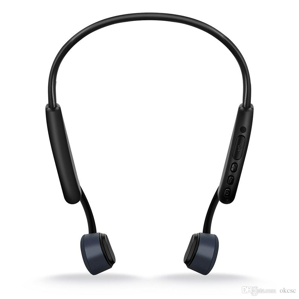 OKCSC Z8 سماعة أذن بلوتوث 5.0 عظام التوصيل سماعات بلوتوث لاسلكية مقاومة للكسر سماعة رأس رمادي عظمي مع ميكروفون