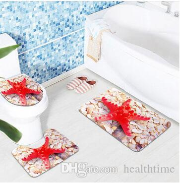 3Pcs Sea World Design Pedestal Rug Bath Mat Flannel Seashell Contour Pedestal Rug Lid Toilet Cover Carpet Bathroom Set
