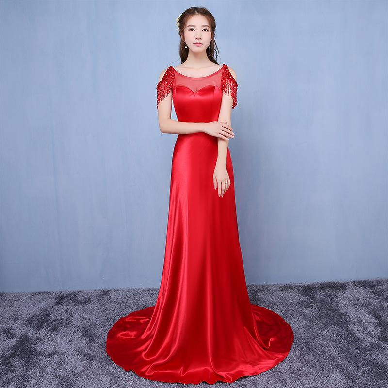 Dinner party evening dress 2018 new fashion red bride wedding wine tailed taejin dress summer