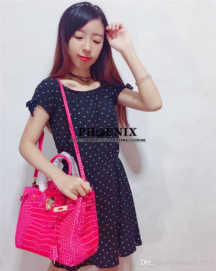 New 25/30/35cm Women Double Handles Bags Fashion Alligator Leather Totes Famous Crocodile Pattern Handbags Gift Package with Card/Dust Bag