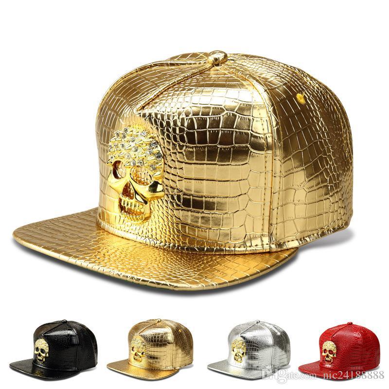 Хип-хоп Snapback Hat Мужчины Женщины Кожа PU Крокодил зерна Череп Cap Золотой логотип Бейсбол парня Fit бейсболке