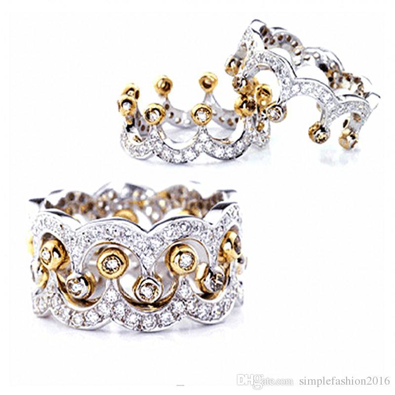 2017 Nuevas Mujeres de La Manera 925 anillos de Corona de plata Diamonique Cz Compromiso anillo de la venda de boda para las mujeres amor regalo