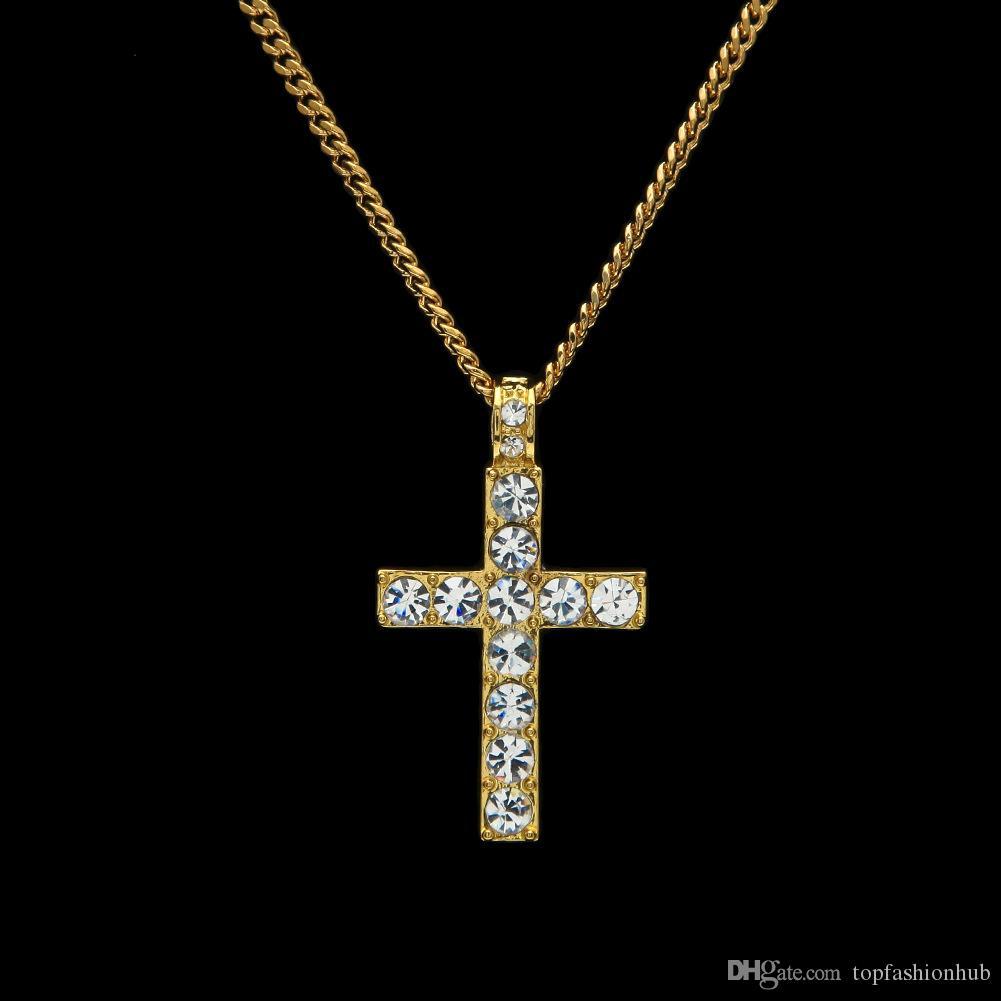 Европейский и американский хип-хоп мужской классический крест кулон с бриллиантовым крестом ожерелье