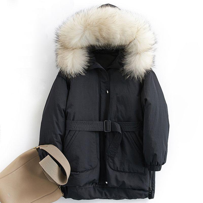 Down coat women winter thick warm 90% white duck down jacket female real raccoon fur trim hood fashion design NPI 81028E