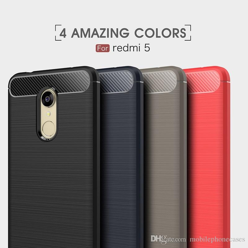 10PCS CellPhone Cases For Xiaomi redmi5 TPU Carbon Fiber heavy duty shockproof case for redmi5 plus cover Free shipping