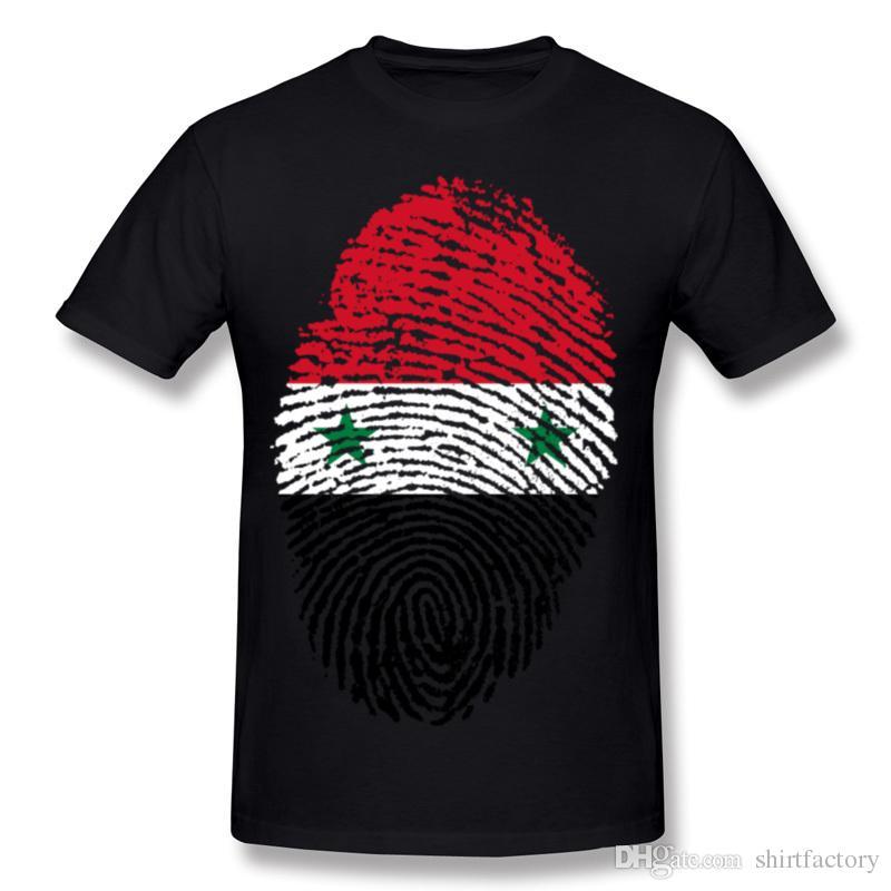 인기 Hombre 100 % 코튼 시리아 깃발 지문 티 셔츠 Hombre O-Neck 그레이 반소매 티 셔츠 4XL Summer Tee Shirt