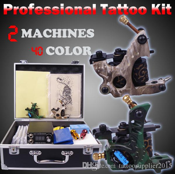 professional tattoo machine set complete tool box power ink switch needles tip kit tattoo body paint tattoo supplies